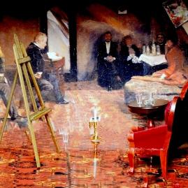 Gunnar Heiberg leser i Oda og Christian Krohgs atelier, April 1889
